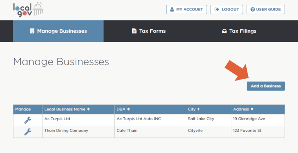 Add a business in Localgov