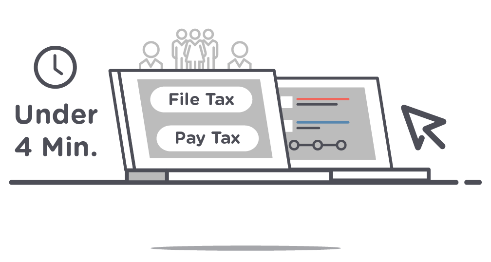 First step in Localgov's Tax and Fee Administration, file and pay taxes in under 4 minutes